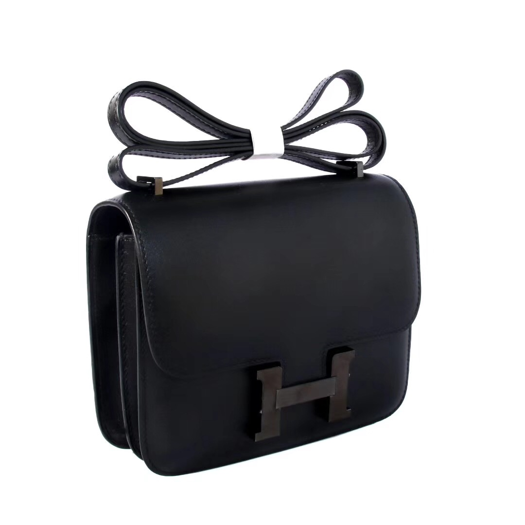Hermes爱马仕 Constance 空姐包 19CM 黑色 so block BOX 神级手工