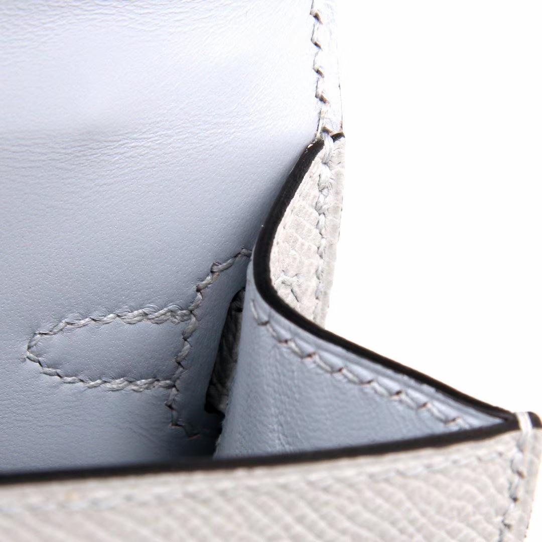 Hermes爱马仕 mini kelly 二代 22CM 银扣 冰川灰 epsom 这明显是一个忧郁的颜色
