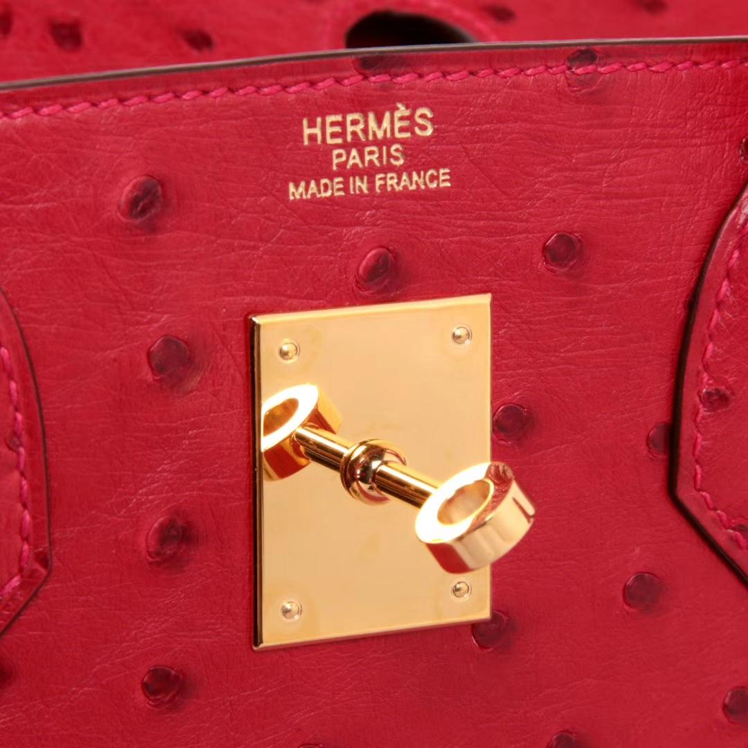Hermes爱马仕 Birkin 30cm 金扣 Q5中国红 南非鸵鸟皮 手感超赞 手工 预定