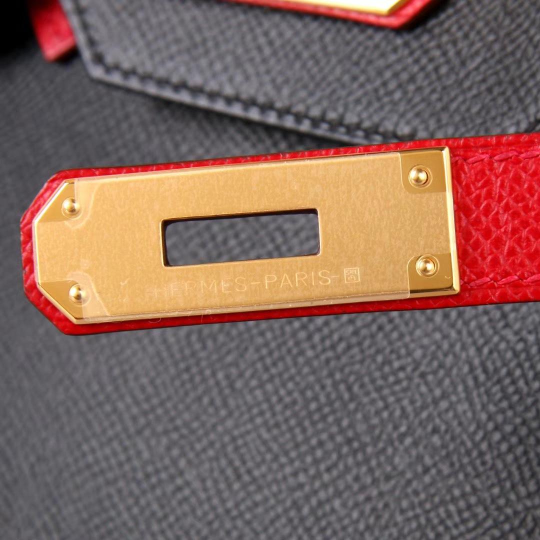 Hermes 爱马仕 birkin 30银 CK89 黑色拼Q5中国红 EPSOM 神级手工 专属订制