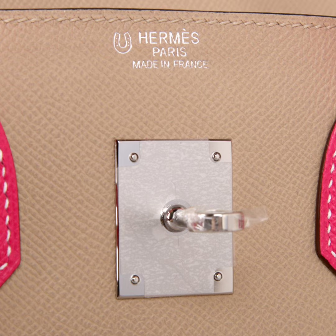 Hermes 爱马仕 birkin 30银 CK81 斑鸠灰拼E5糖果粉 EPSOM 神级手工 专属订制