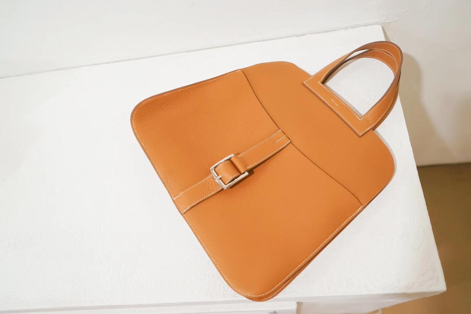 Hermes爱马仕 Halzan 30cm 驼色 热销款式 专柜同步 Swift 神级手工