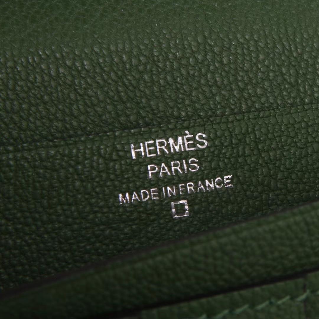 Hermes Bearn H扣钱夹 V6丛林绿 鳄鱼 现货