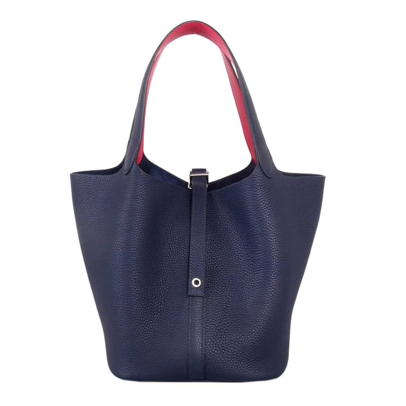 Hermes爱马仕 菜篮子包包 18 午夜蓝拼玫瑰紫