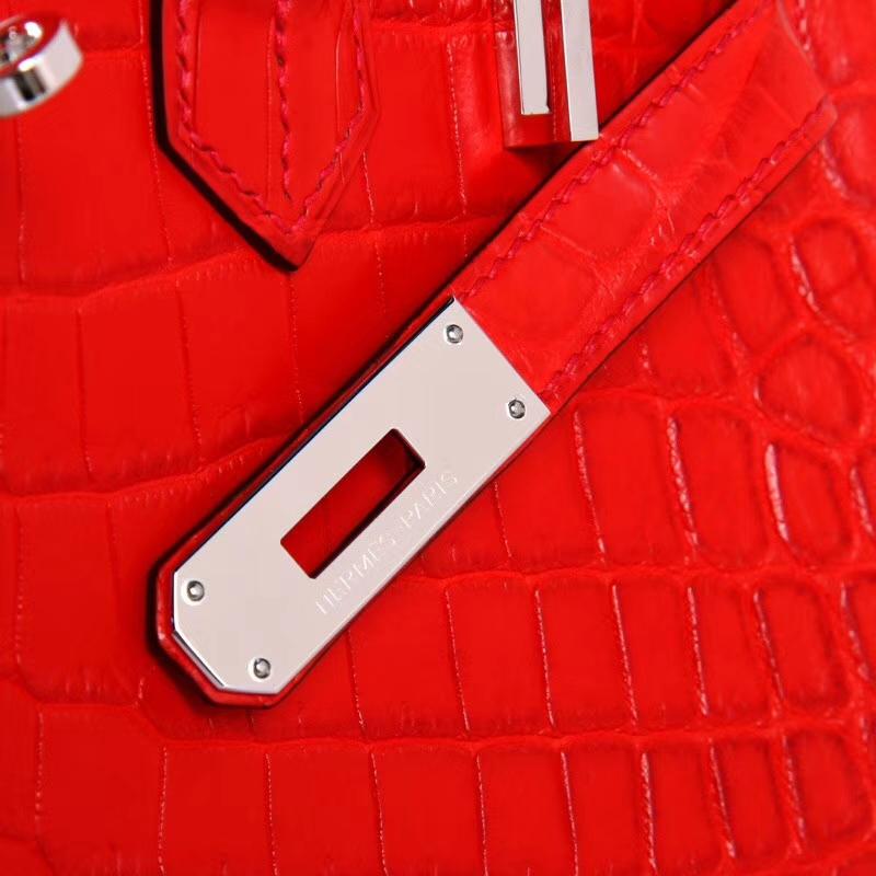 Hermès(爱马仕)Birkin 30cm 银扣 CK51火炭红 哑光鳄鱼 纯手工 神级