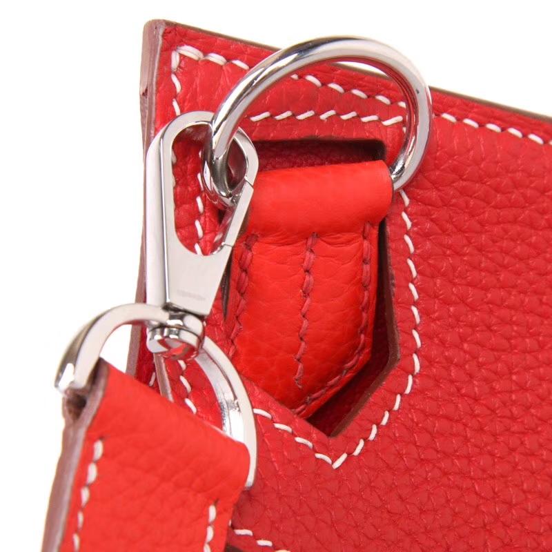 Hermès(爱马仕)Jypsiere吉普赛 28银 番茄红拼国旗红 togo