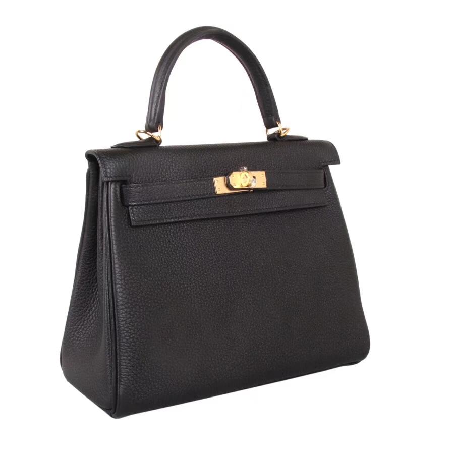Hermès(爱马仕)Kelly 28CM 黑色  银扣 CK18大象灰 Togo 内缝 手工 神级