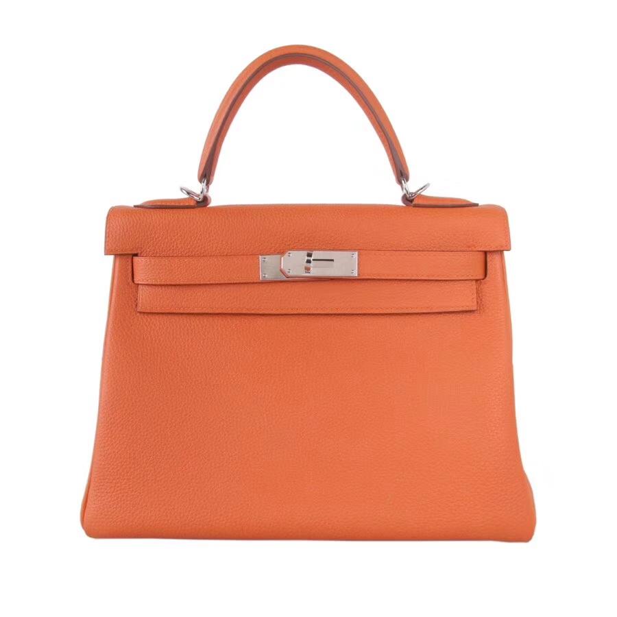Hermès(爱马仕)Kelly 28CM 橙色银扣  togo  手工 神级