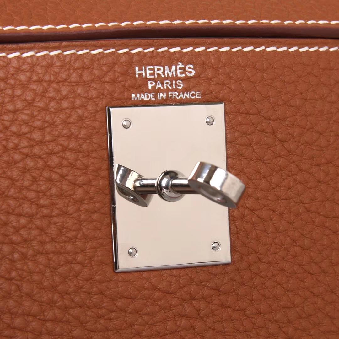 Hermès(爱马仕)Kelly系列2018新款 彩色手柄 28银 金棕色 TOGO