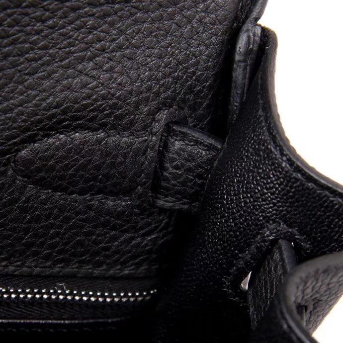 Hermès(爱马仕)Kelly系列2018新款 彩色手柄 28银 黑色 TOGO