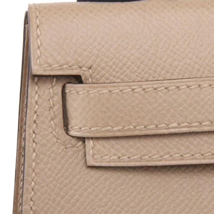 Hermès(爱马仕)Minikelly 二代 风衣灰  银扣  Epsom皮
