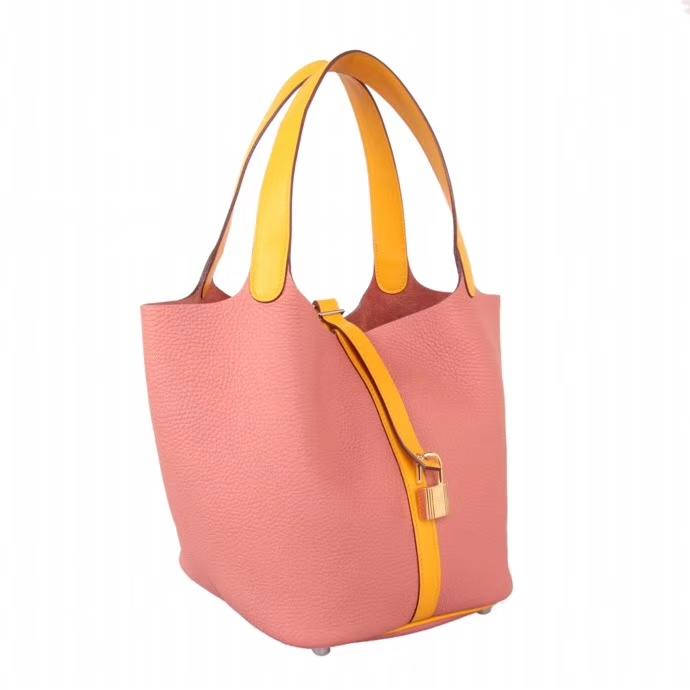 Hermès(爱马仕)Picotin菜篮22 橙色+粉色 Togo 手工神级