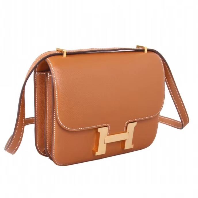 Hermès(爱马仕)Constance空姐包 19CM  金扣 金棕色  原厂御用顶级Epsom皮 原单品质