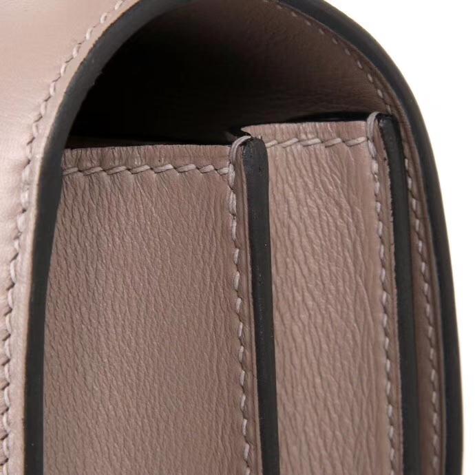 Hermès(爱马仕)Constance空姐包 19CM 银扣 沥青灰 原厂御用顶级Swift皮