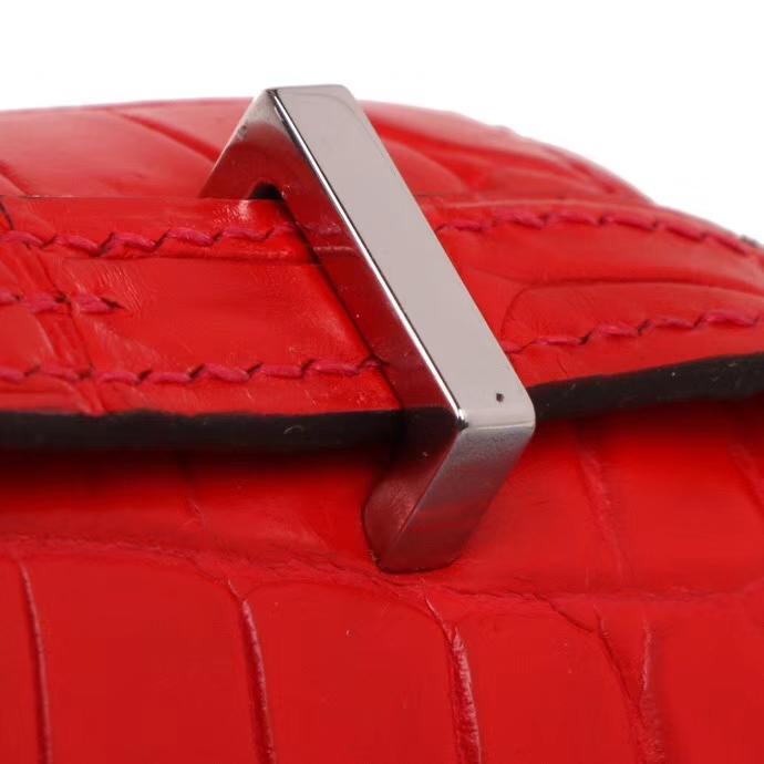 Hermès(爱马仕)Constance空姐包 19CM 银扣 中国红 亮面鳄鱼 神级手工
