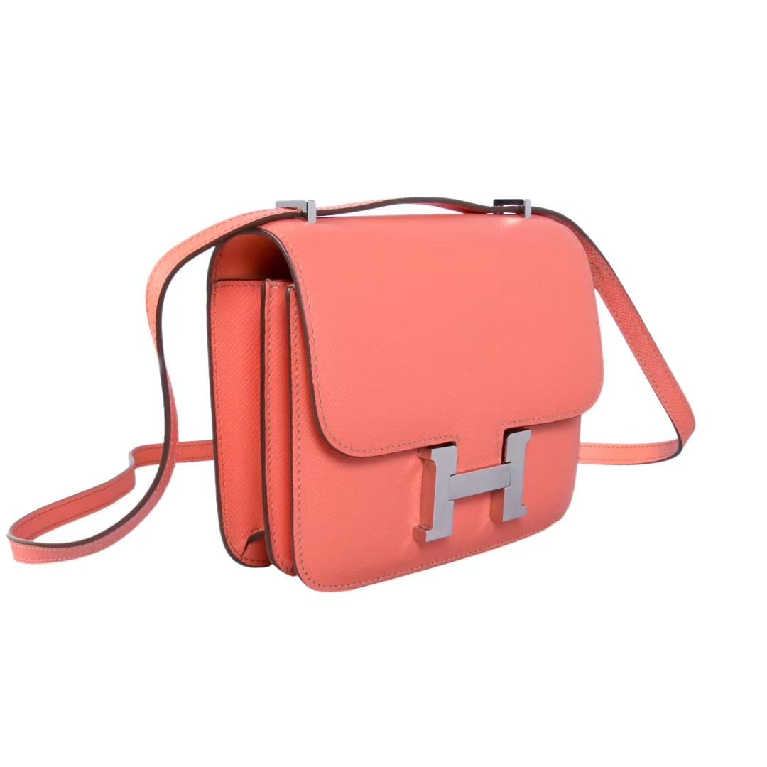 Hermès(爱马仕)Constance空姐包 19CM 银扣 火烈鸟粉 Epsom皮