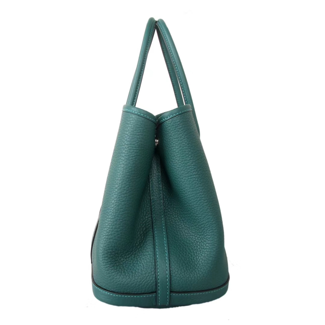 Hermès(爱马仕)Garden Party花园包 绿色 原厂Togo荔枝纹牛皮手提女包30CM