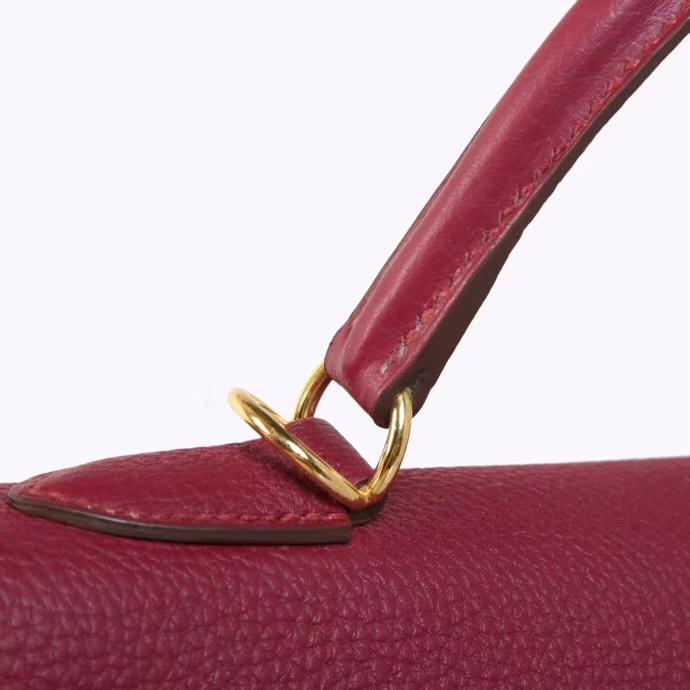 Hermès(爱马仕)Kelly 32CM 金扣 酒红色 托斯卡 Togo 手工神级
