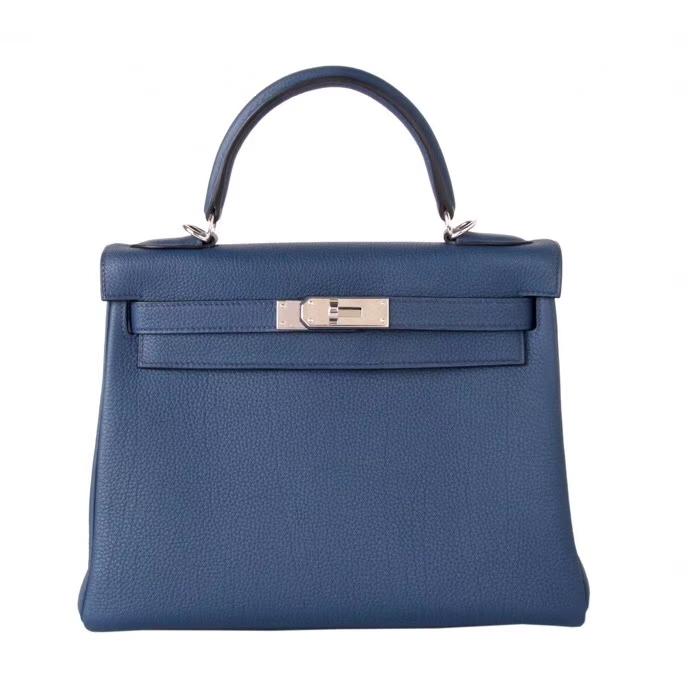 Hermès(爱马仕)Kelly 28CM 银扣 宝石蓝 Togo 手工神级