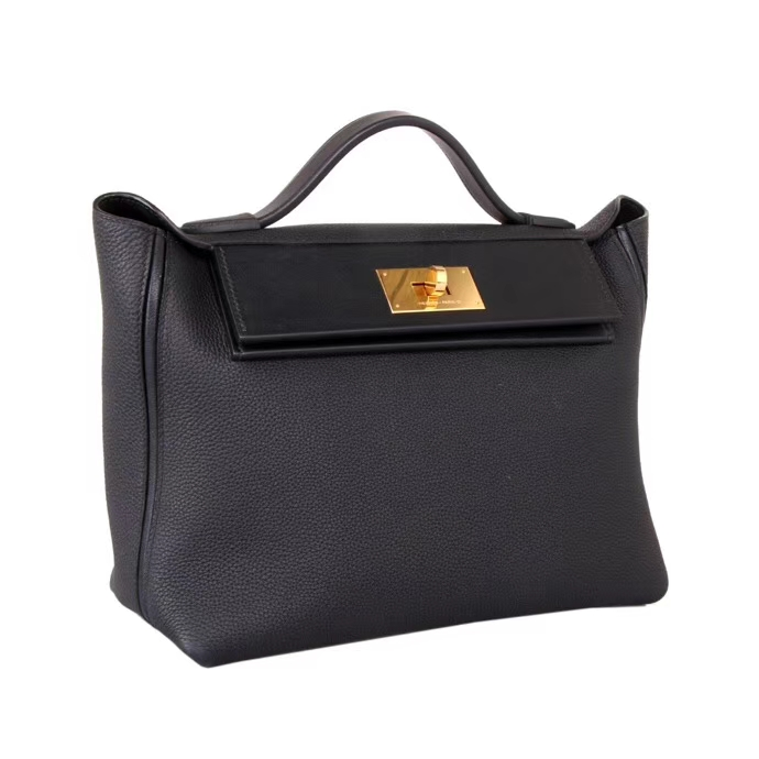 Hermès(爱马仕)2018年新款 kelly2424 黑色 金扣 有肩带 29cm