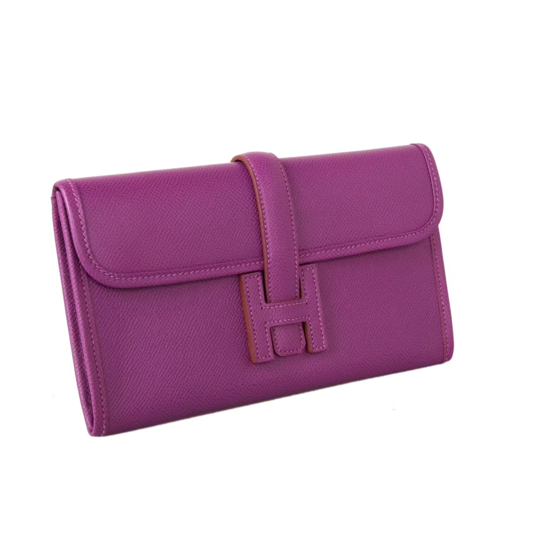Hermès(爱马仕)长款钱包 海葵紫  EPSOM皮 21.5×12cm