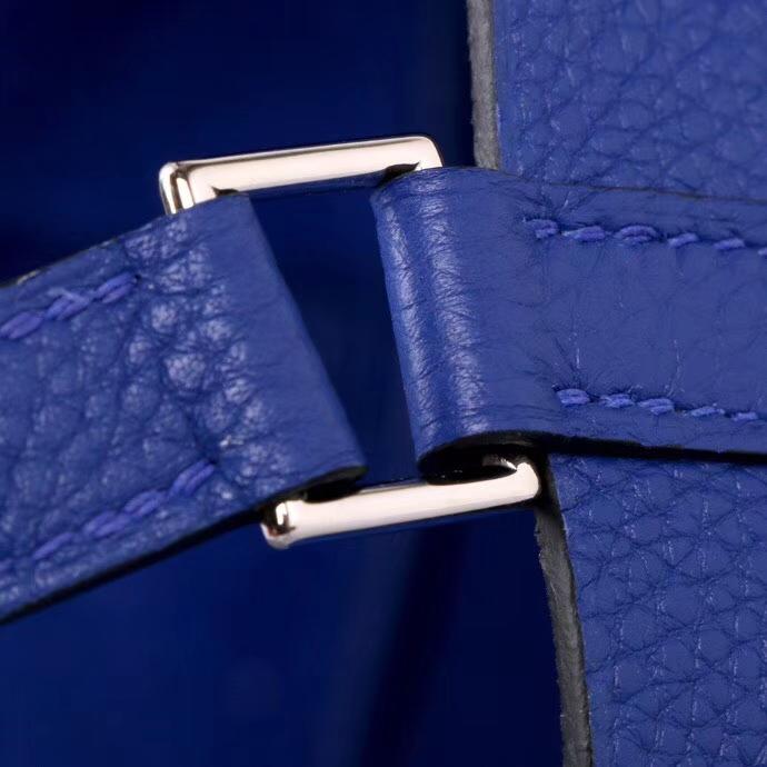 Hermès(爱马仕)Picotin菜篮 电光蓝 togo 22cm 银扣