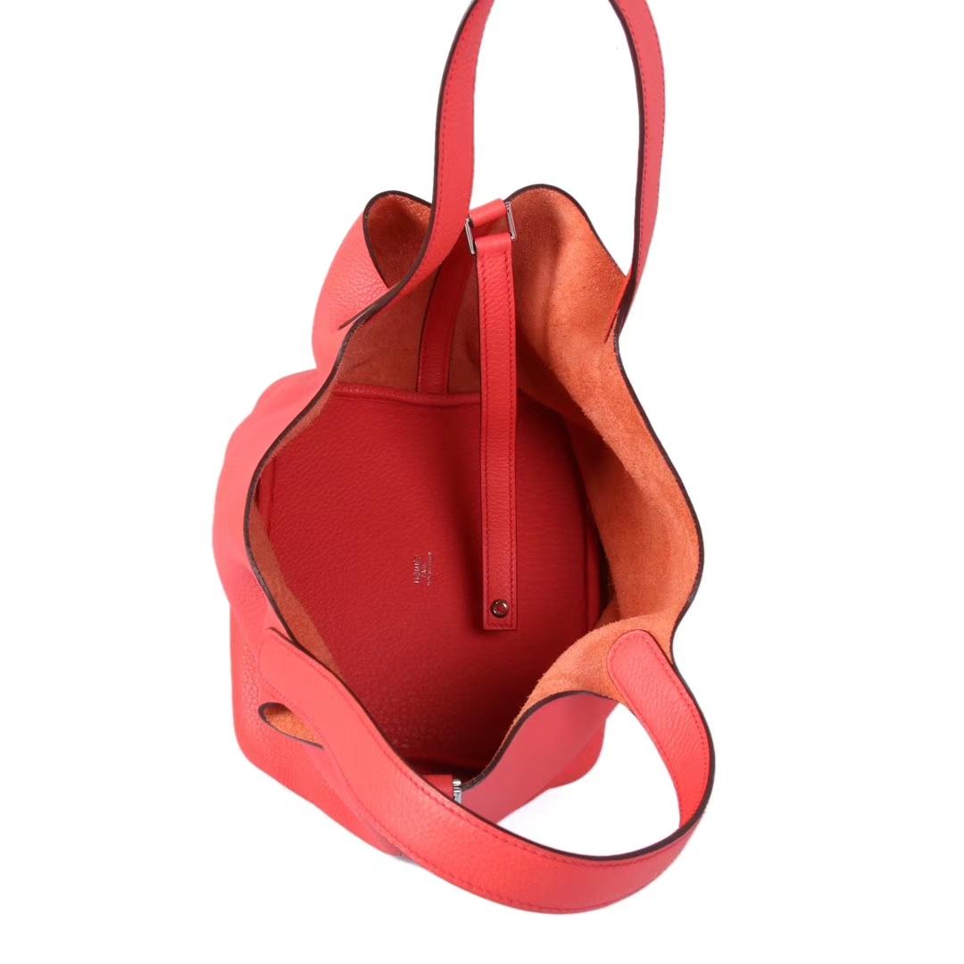 Hermès(爱马仕)Picotin菜篮 中国红 togo 22cm 银扣