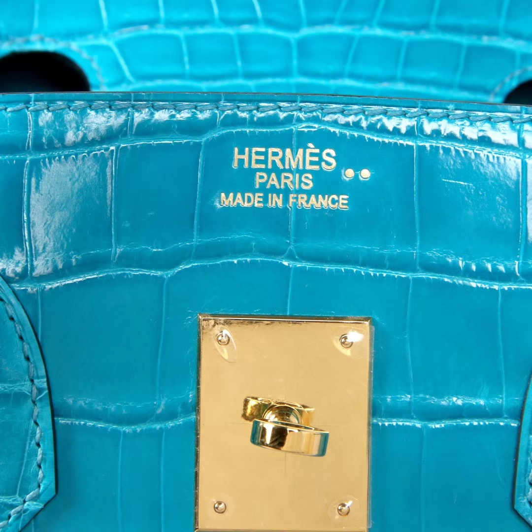 Hermès(爱马仕)Birkin 孔雀蓝 亮面鳄鱼 银扣 30cm