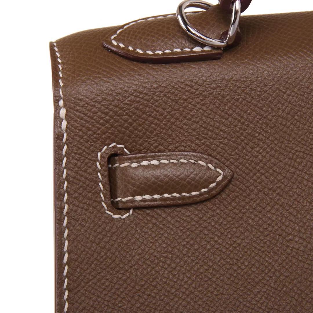 Hermès(爱马仕)kelly凯莉包 大象灰 EPSOM皮 银扣 28cm