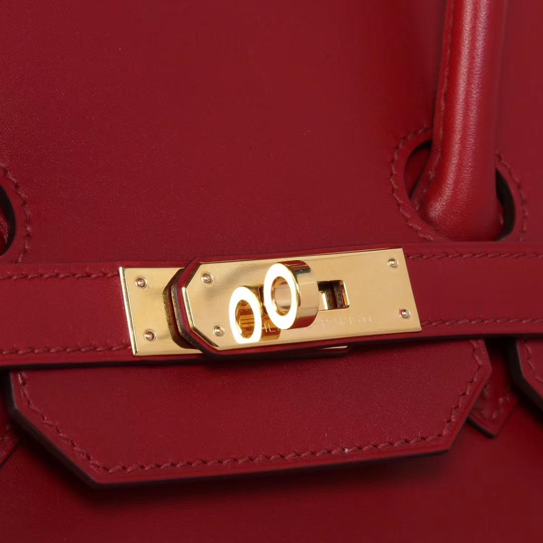 Hermès(爱马仕)birkin铂金包 酒红色 Box皮 金扣 30CM