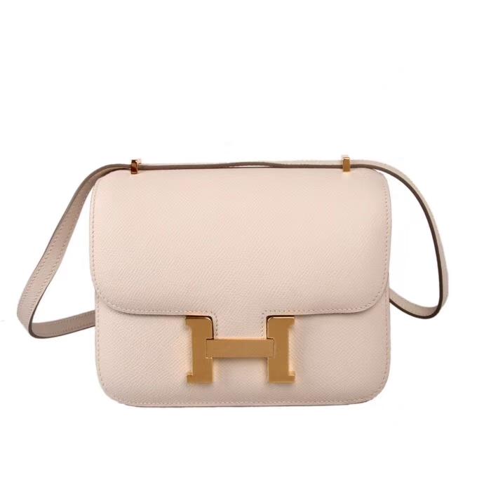 Hermès(爱马仕)奶昔白 原厂御用顶级Epsom 皮 Constance 19