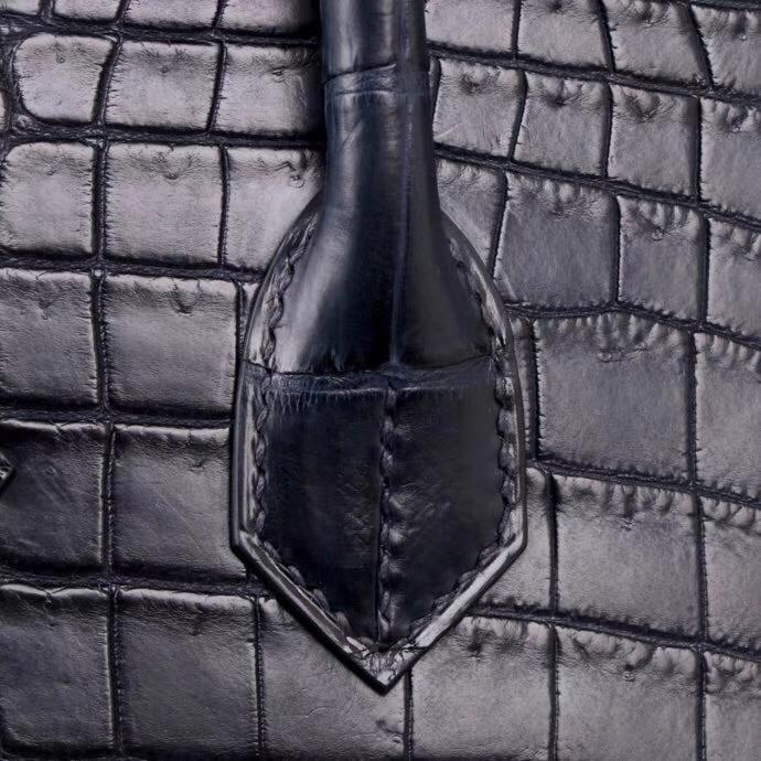 Hermès(爱马仕)birkin 深海蓝 哑光鳄鱼 金扣 30cm
