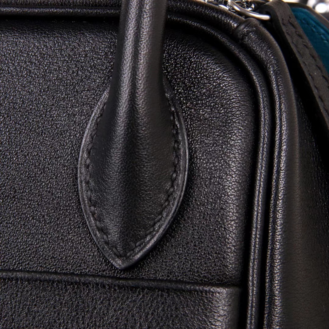 Hermès(爱马仕)Lindy 黑拼伊兹密尔蓝 Swift皮 银扣 30CM 手工神级