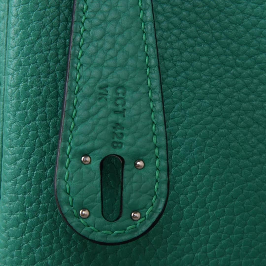 Hermès(爱马仕)Lindy 丝绒绿 Swift皮 银扣 30CM 手工神级