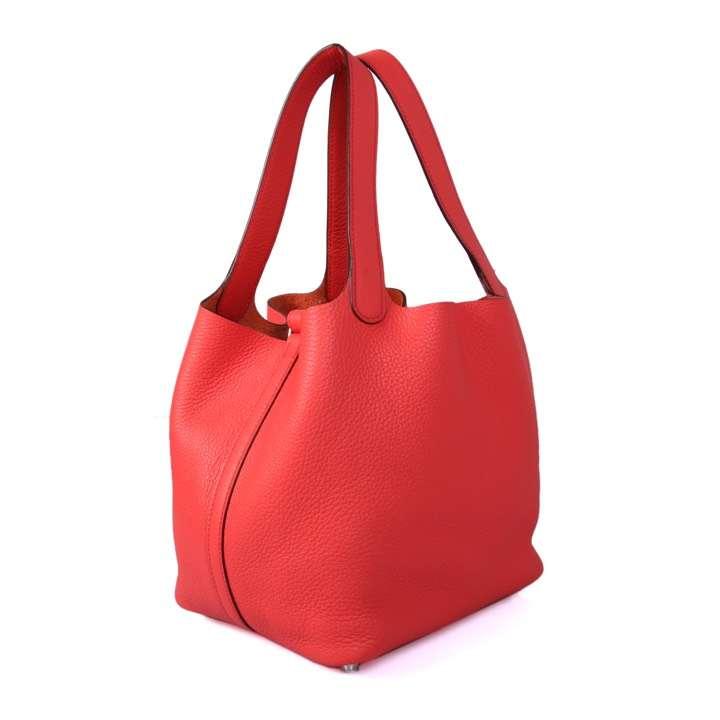 Hermès(爱马仕)CK18 中国红 Picotin菜蓝子  Lock 22cm 银扣 现货