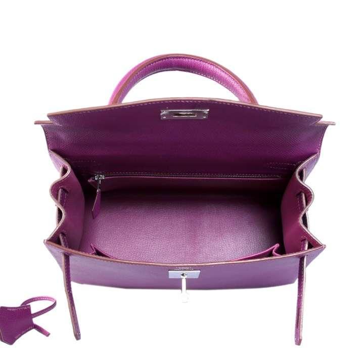 Hermès(爱马仕)Kelly 28cm 银扣 海葵紫 Epsom 纯手工 神级