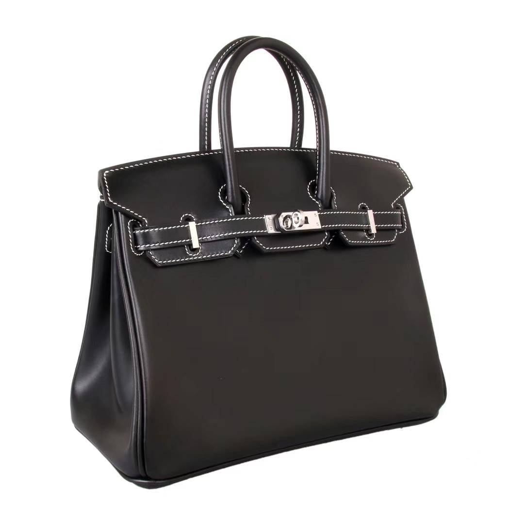 Hermès(爱马仕)Birkin 经典黑色 原厂御用顶级box皮 银扣 现货