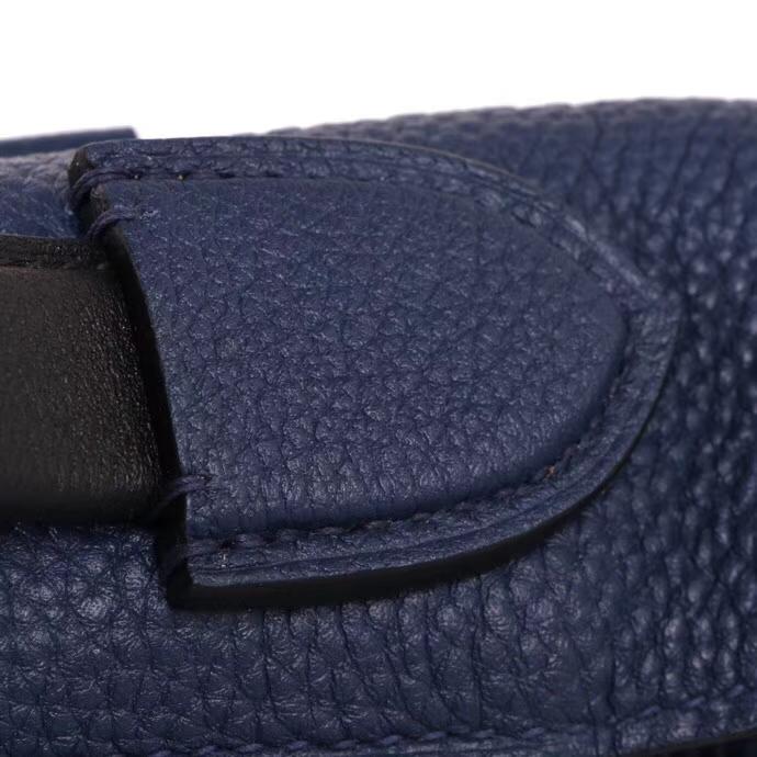 Hermès(爱马仕)Kelly2424 金扣 午夜蓝拼黑色 togo 29cm
