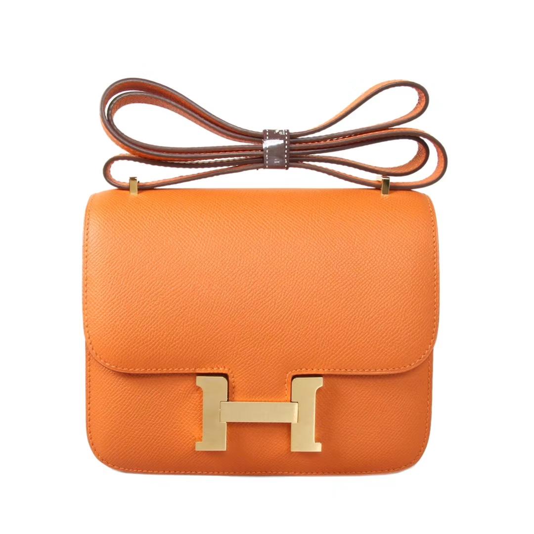 Hermès(爱马仕)Constance空姐包 橙色 Epsom皮 金扣 19cm 现货