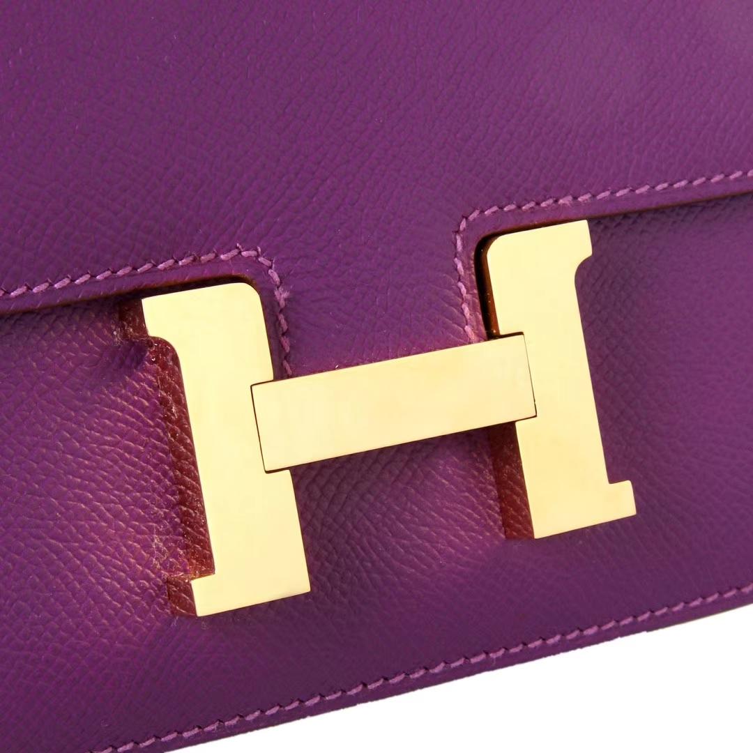 Hermès(爱马仕)Constance空姐包 海葵紫 Epsom皮 金扣 19cm 现货