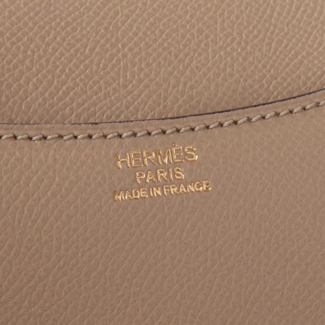 Hermès(爱马仕)Constance空姐包 风衣灰 Epsom皮 金扣 19cm 现货