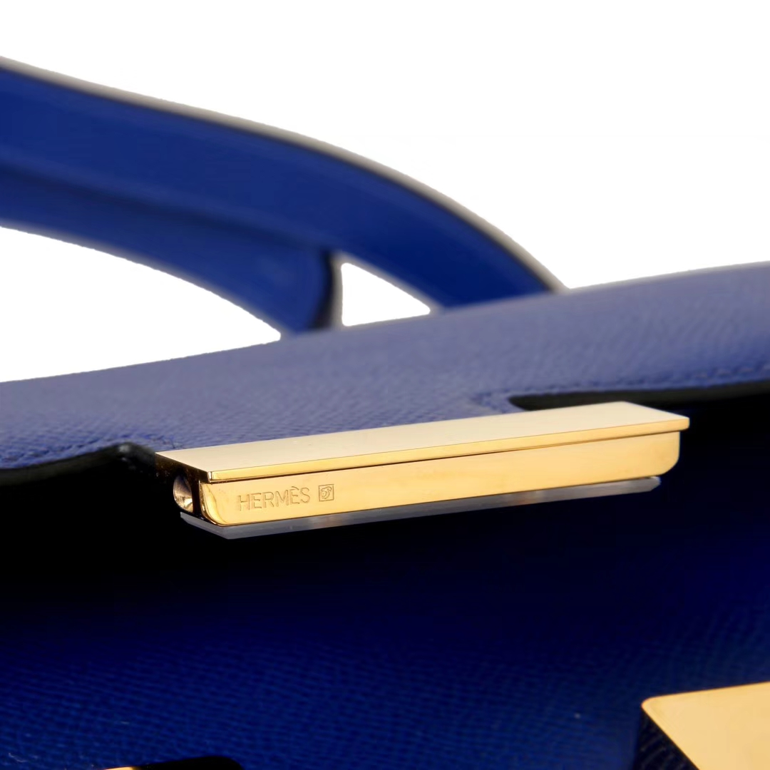 Hermès(爱马仕)Constance空姐包  电光蓝 原厂御用顶级Epsom皮 金扣 19cm 现货