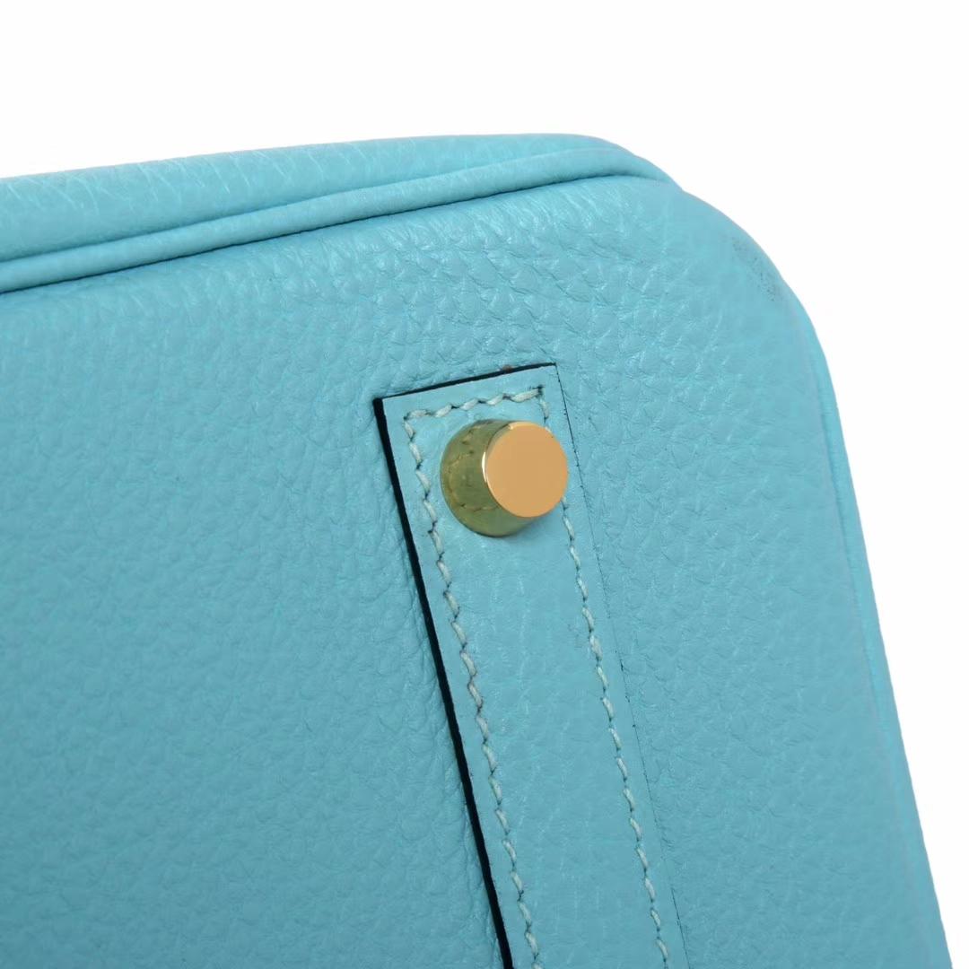 Hermès(爱马仕)M8 浅蓝色 原厂御用顶级小牛皮 Birkin 25 银扣 现货
