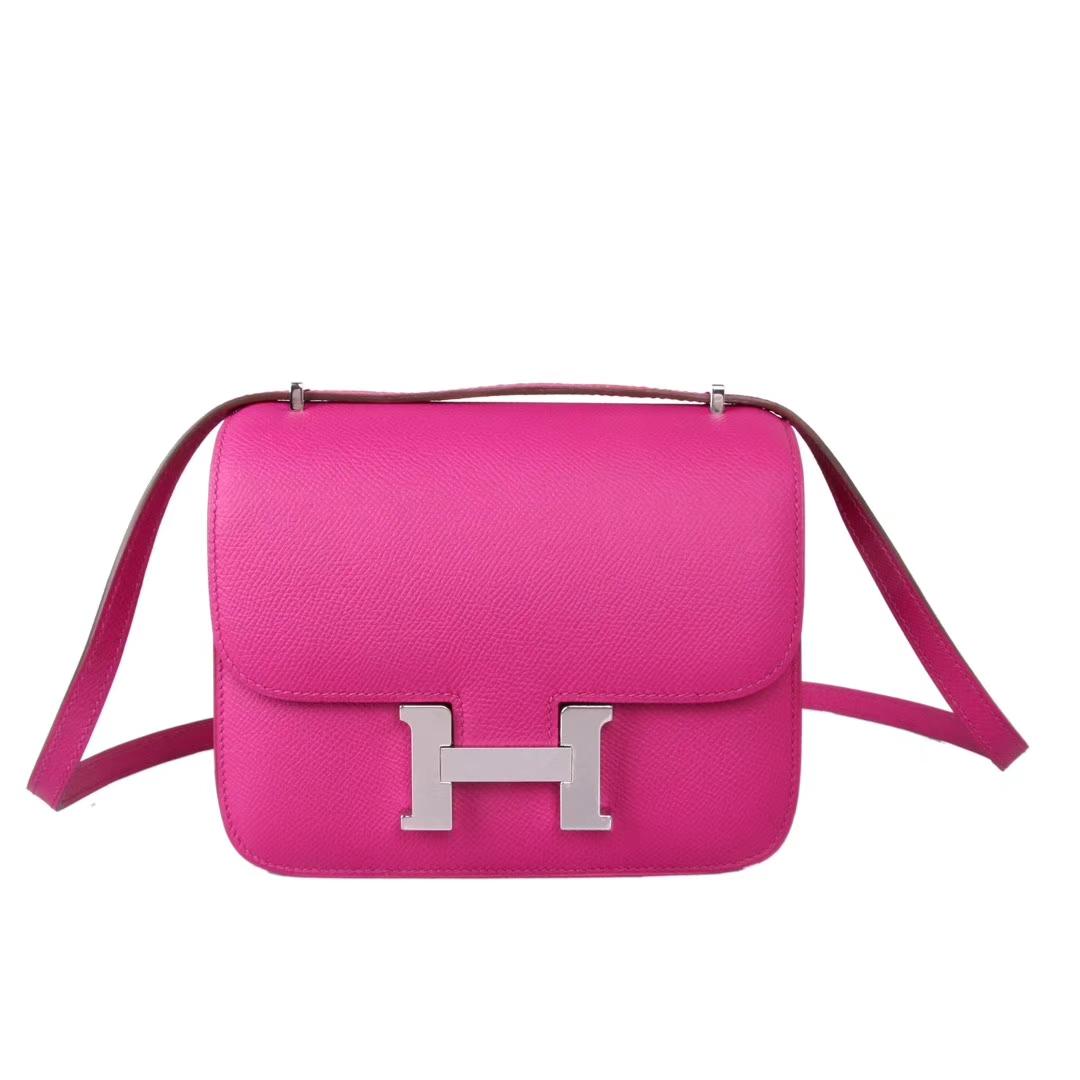 Hermès(爱马仕)Constance空姐包 玉兰粉 Epsom皮 银扣 19cm 现货