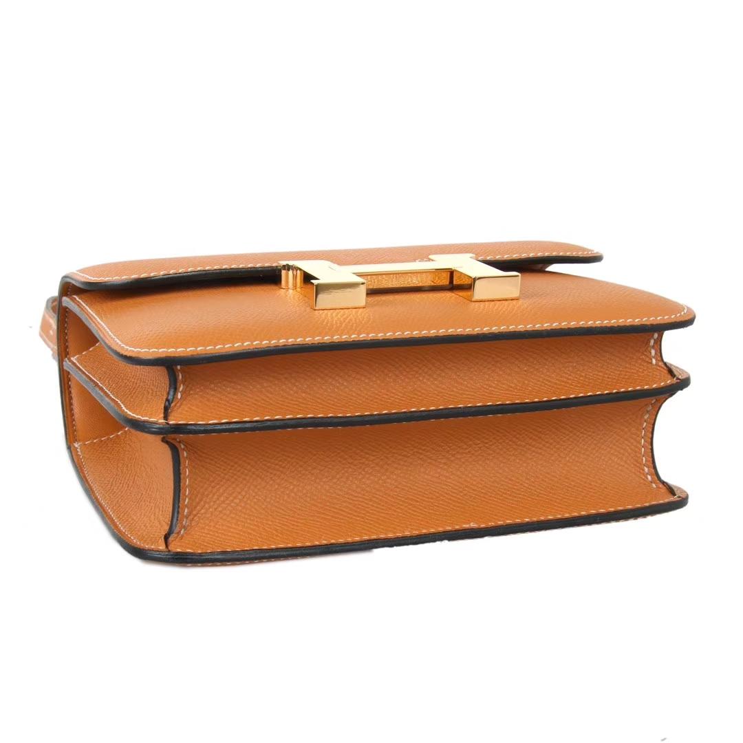 Hermès(爱马仕)Constance空姐包 金棕色 Epsom皮 金扣 19cm 现货