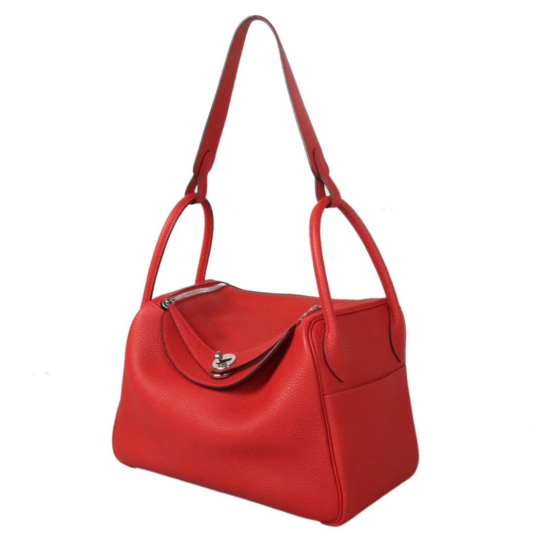 Hermès(爱马仕)Lindy琳迪包 国旗红 银扣 Togo 30cm 现货