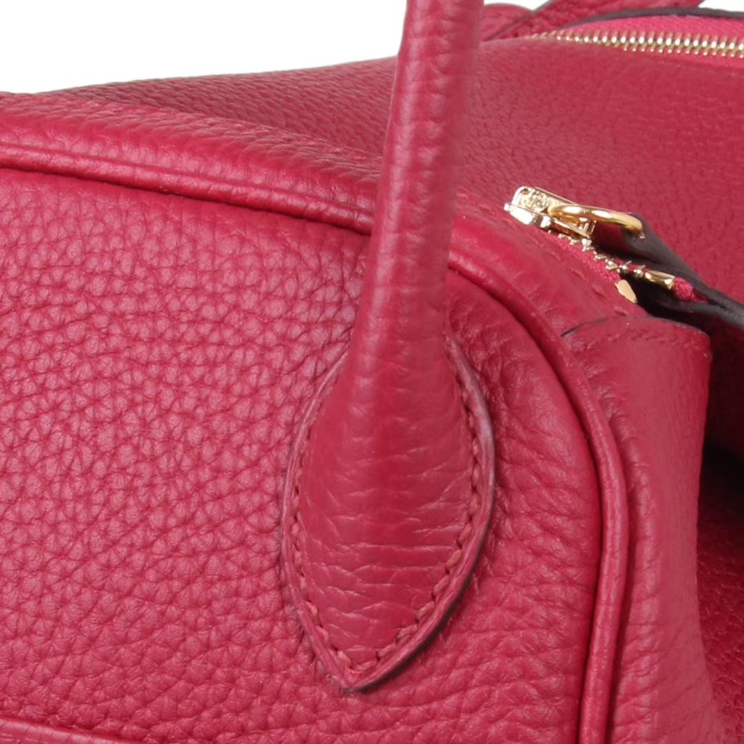 Hermès(爱马仕)Lindy琳迪包 石榴红 金扣 Togo 30cm 现货
