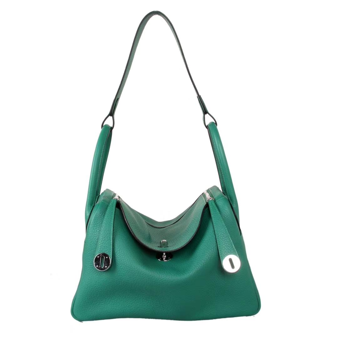 Hermès(爱马仕)Lindy琳迪包 丝绒绿 银扣 Togo 30cm 现货