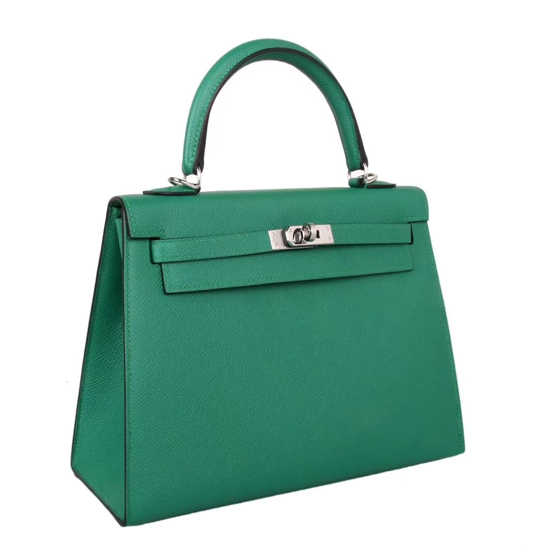 Hermès(爱马仕)kelly凯莉包 丝绒绿 Espom皮 金扣 28cm 现货
