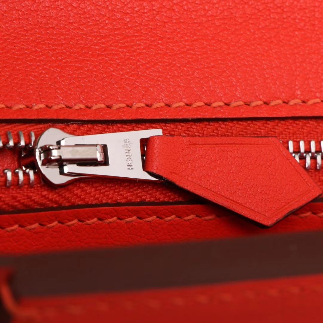 Hermès(爱马仕)Kelly2424 29银扣 橘红色  togo